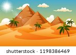 desert background with pyramid... | Shutterstock .eps vector #1198386469