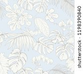 tropical plants and white... | Shutterstock .eps vector #1198390840