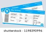 plane ticket template. airplane ... | Shutterstock . vector #1198390996
