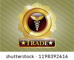 gold badge or emblem with... | Shutterstock .eps vector #1198392616