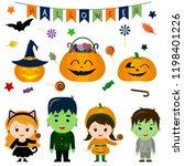 set of four cute kids in...   Shutterstock . vector #1198401226