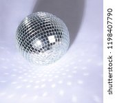 beautiful disco ball on yellow... | Shutterstock . vector #1198407790