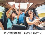 group of people having fun in... | Shutterstock . vector #1198416940