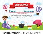 template of kindergarten... | Shutterstock .eps vector #1198420840
