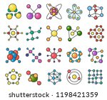 molecules line color icons set | Shutterstock .eps vector #1198421359