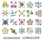 molecules line color icons set | Shutterstock .eps vector #1198421359