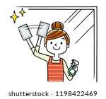 housewife cleaning a window  a... | Shutterstock .eps vector #1198422469