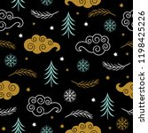 seamless christmas and new year'... | Shutterstock .eps vector #1198425226