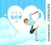 shower card with stork. flying... | Shutterstock .eps vector #1198426309