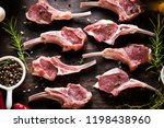 rack of lamb   raw meat with... | Shutterstock . vector #1198438960