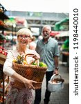 senior shopping couple with... | Shutterstock . vector #1198440010