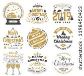 set of merry christmas and 2019 ... | Shutterstock .eps vector #1198450423