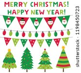 christmas trees and decoration  ... | Shutterstock .eps vector #1198450723