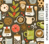 coffee pattern with cappuccino  ... | Shutterstock .eps vector #1198452343