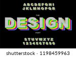 80's retro alphabet font.... | Shutterstock .eps vector #1198459963