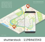city map route navigation... | Shutterstock .eps vector #1198465543
