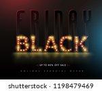 retro light bulbs sign black... | Shutterstock .eps vector #1198479469