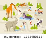 zoo park with funny animals and ... | Shutterstock .eps vector #1198480816