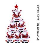 Christmas Tree Made Of Santas