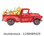 Red Harvest Truck With Pumpkins ...