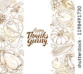 happy thanksgiving day greeting ... | Shutterstock .eps vector #1198491730