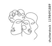 abstract faces one line drawing.... | Shutterstock .eps vector #1198491889