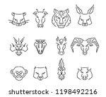 vector set of chinese zodiac... | Shutterstock .eps vector #1198492216