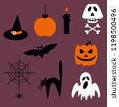 halloween vector set of icons...   Shutterstock .eps vector #1198500496