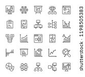 analytics line vector icons  | Shutterstock .eps vector #1198505383