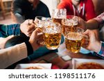 group of happy friends drinking ... | Shutterstock . vector #1198511176