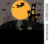 halloween background with full... | Shutterstock .eps vector #1198515220