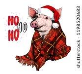 hand drawn portrait of pig... | Shutterstock .eps vector #1198520683