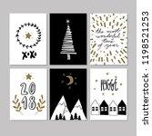set of doodle christmas... | Shutterstock . vector #1198521253