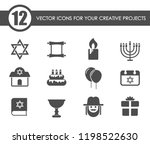 hanukkah vector icons for your... | Shutterstock .eps vector #1198522630
