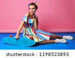 fashion cool girl posing with... | Shutterstock . vector #1198523893