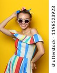 fashion cool girl posing in... | Shutterstock . vector #1198523923