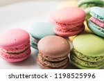 colorful macaron on dish | Shutterstock . vector #1198525996