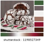 home baked peppermint and... | Shutterstock . vector #1198527349