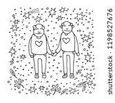 elderly gay couple on white... | Shutterstock .eps vector #1198527676