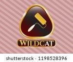 gold badge with roller brush... | Shutterstock .eps vector #1198528396