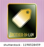 golden emblem with tag icon... | Shutterstock .eps vector #1198528459