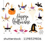 halloween set with cute... | Shutterstock .eps vector #1198529836