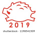 2019 year of the wild boar icon ... | Shutterstock .eps vector #1198541509