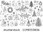 christmas pattern in sketch... | Shutterstock .eps vector #1198553836