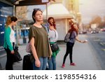 group of people standing in a... | Shutterstock . vector #1198554316
