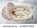 top view of vintage crib and... | Shutterstock . vector #1198567003