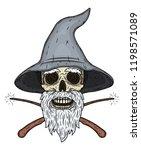skull. wizard's skull with...   Shutterstock .eps vector #1198571089