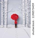 winterseason  woman wearing a... | Shutterstock .eps vector #1198573459