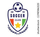 a soccer club logo on badge to ... | Shutterstock .eps vector #1198586320