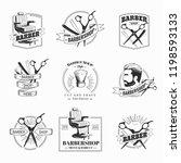 vector set of retro barber shop ...   Shutterstock .eps vector #1198593133